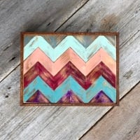 Chevron, Multicolored, Hand Painted Wall Art, Southwestern Style, Home Decor, Home Accents