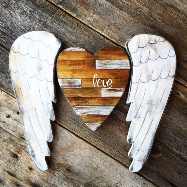 Heart and Wings, Pieced Wood Heart, Angel Wings, Home Accents, Boho Wall Decor