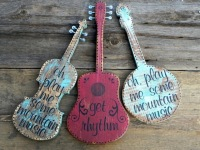 Fiddle, Guitar, and Banjo, Country Music Lyrics, Handmade Wood Signs, Country Living Decor, Mountain Living Decor, Gift for Music Lovers, Bluegrass Style, Crow Bar D'signs