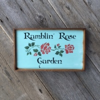 Garden Art, Garden Signs, Wall Accents for the Home and Garden, Country Garden Decor, Country Living Home Decor, Decorative Wood Sign, Ramblin' Rose Garden, Turquoise with Red Roses, Image, Crow Bar D'signs