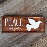 Rustic Living, Peace Sign, Dove, Wood Wall Art, Decorative Signs for the Home, Entryway Style and Decor, Country Living Decor, Handmade, Boho, Bohemian Style