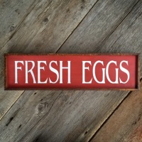 Fresh Eggs, Kitchen Sign, Wall Decor, Handmade Signs, Chicken Coop Sign, Outdoor Sign, Red