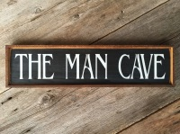 The Man Cave, Wood Sign, Wood Wall Decor, Gift for Him, Dad Gifts, Hand Stenciled Signs, Black and White