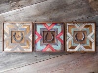 Pieced Wood Wall Art, Rustic Modern Decor, Chevron Designs, Horseshoe Decor, Southwestern Style Home Decor, Wall Gallery Decor Ideas, Horse and Equine Decor