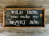 Wild Thing, Song Lyrics, Classic Rock Song Lyrics, Signs and Sayings on Wood, Rustic Wood Signs, Stenciled Signs, Indoor and Outdoor Signs, Rustic Home Decor Ideas, Musical Signs, Gift Ideas for Music Lovers, Classic Rock Song Lyrics
