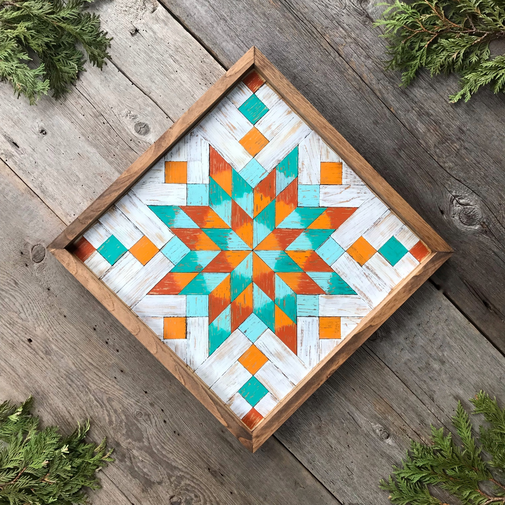 Barn Quilt, Wood Wall Art, Wooden Barn Quilts, Star Quilt Square, Starburst Bursting Star Pattern, Colorful Wood Wood Wall Decor
