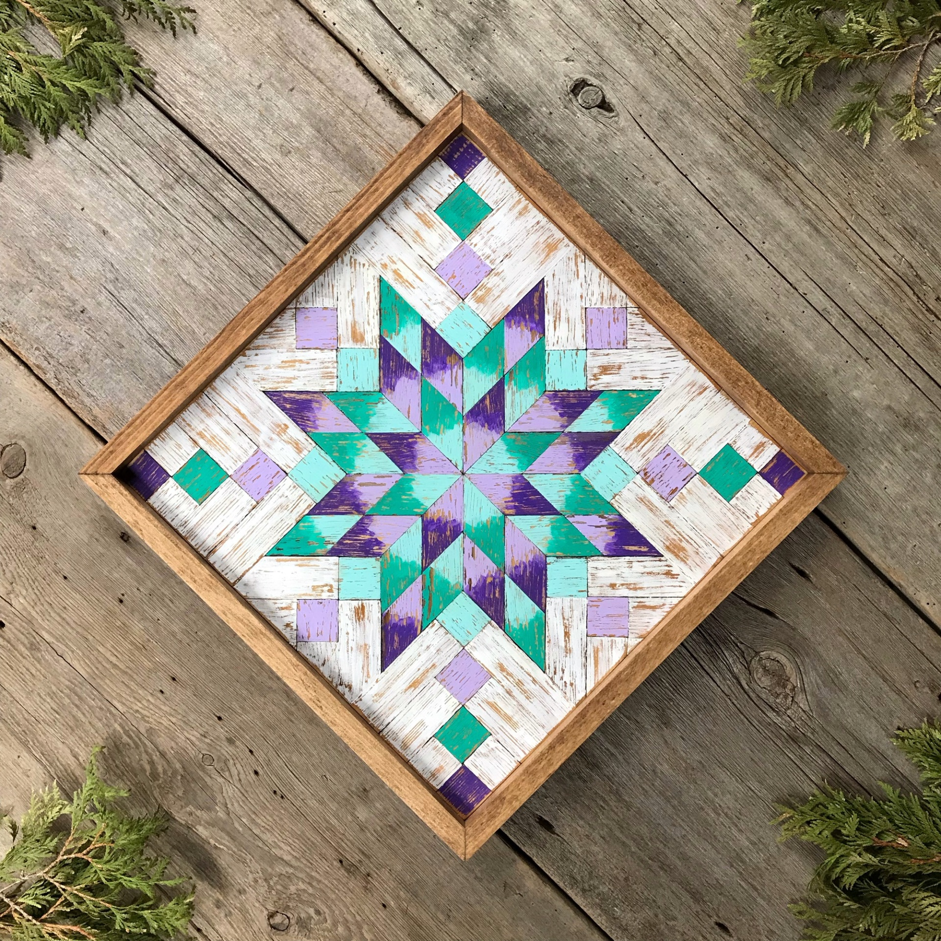 Barn Quilt, Wood Quilt Square, Wooden Quilt Blocks, Colorful Geometric Patterns, Wood Wall Art, Star Quilt Square