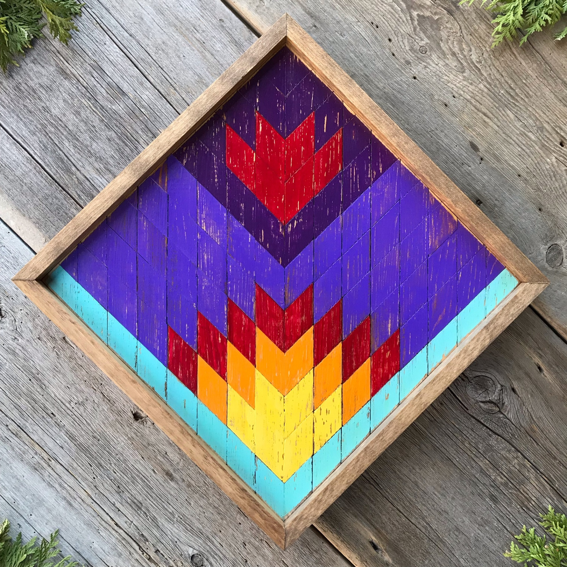 Barn Quilt, Wood Wall Art, Mosaic Wall Art, Colorful Geometric Patterns, Quilt Square, Southwestern Decor, Boho Decor