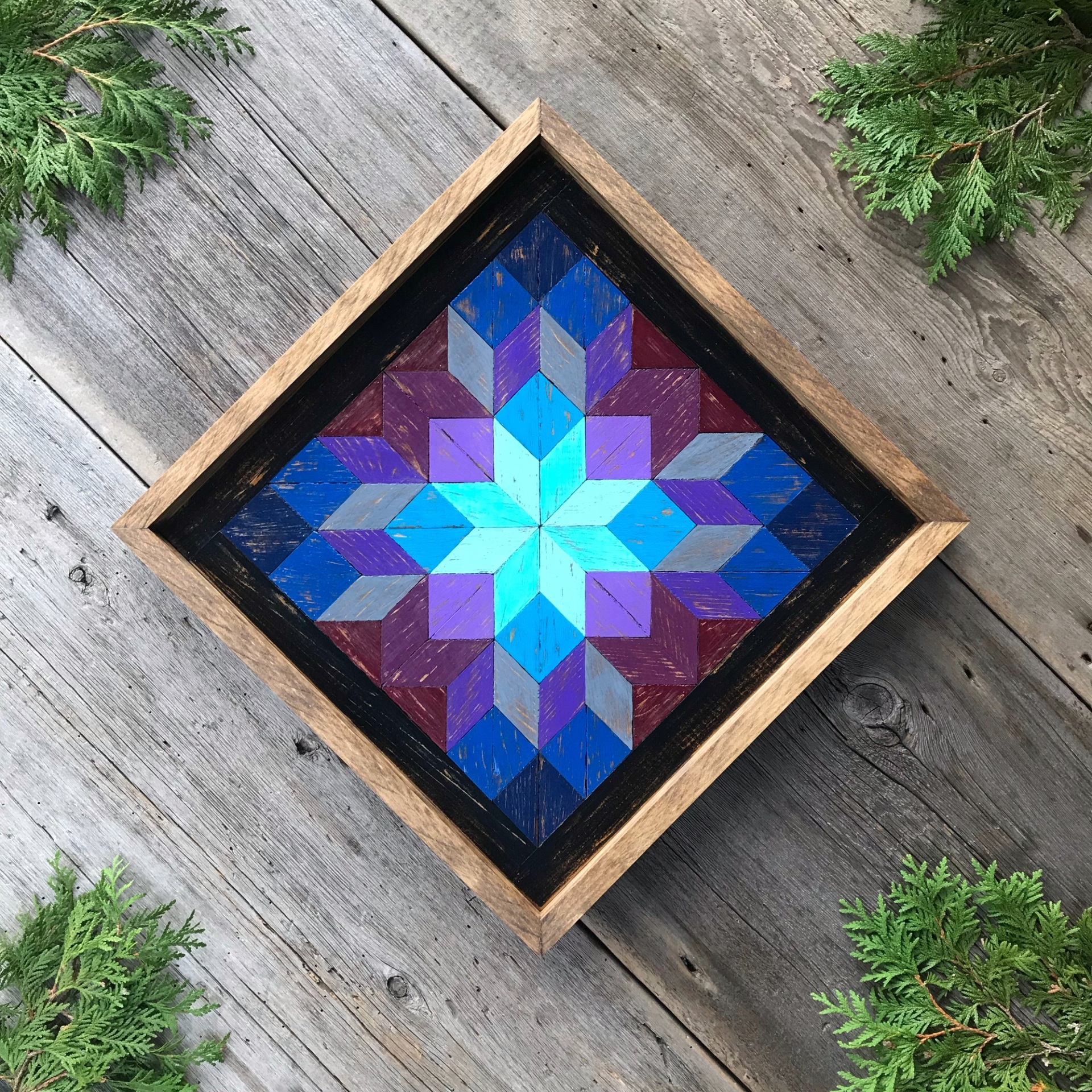 Barn Quilt, Star Quilt Block, Wood Quilt Square, Wooden Wall Hanging, Jewel Tones, Framed Wall Decor, Rustic Country Decor