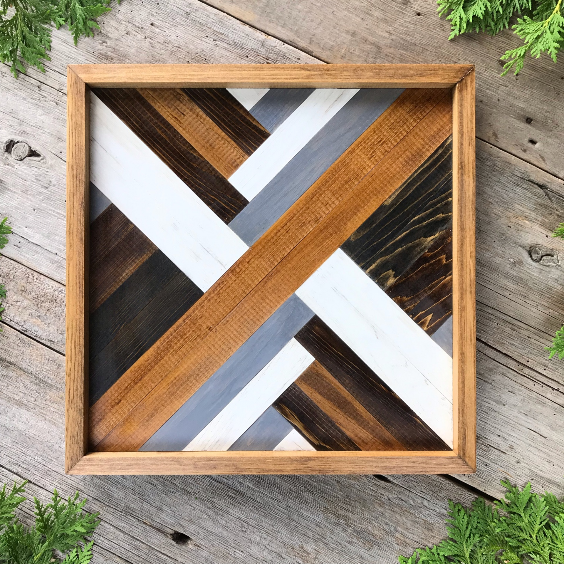 Wood Wall Art, Geometric Patterns, Barn Quilt, Wooden Barn Quilt Square, Neutral Toned Wall Decor, Modern Rustic Contemporary Design Decor